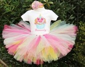 Pink and Aqua Birthday Cupcake onesie, extra fluffy tutu and hair bow set