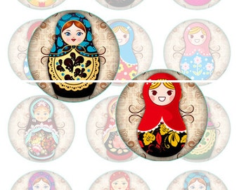Instant Download Russian Dolls Digital Art Collage Sheet , 25mm or 1 inch jewelry  for making jewlery or paper supplies