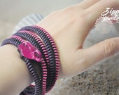 2 Purple, pink bracelet, colorful zipper wirstband, handmade gift, party by the bay collection.
