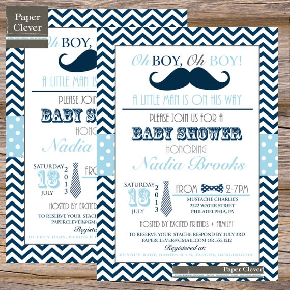 boys baby shower invitation bow tie mustache navy digital file