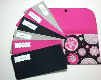 Cash Envelope Wallet, Fabric Cash Envelopes - Pink Medallion (It can be used with the Dave Ramsey system)