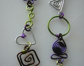 Eyeglass Chain In Purple/Lime Green/Silver/Brown Whimsical Shapes