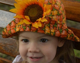 Fall Kids Hat Baby Hat Halloween Autumn Pumpkins Hat Sunflower