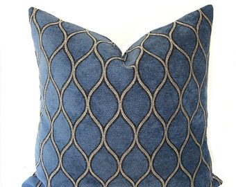 Iman - Tourmaline in Aegean - Blue Chenille Velvet - Decorative Pillow Cushion Cover - Accent Pillow - Throw Pillow
