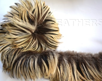 """Wholesale/bulk feathers – Neck hackle Badger natural  real rooster feathers brown beige, strung 10 in (25 cm) / 4-5"""" (10-13 cm) / FB12-4"""