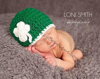 Instant Download PDF Crochet Pattern - No. 28 Baby Leprechaun 4 Leaf Clover Shamrock Hat - 6 Sizes
