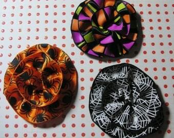 3 Halloween Scrapbook Flower Embellishments