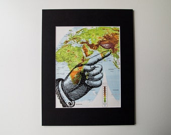 Vintage Art Print, Pointing Finger on Vintage World Map, 11 x 14""