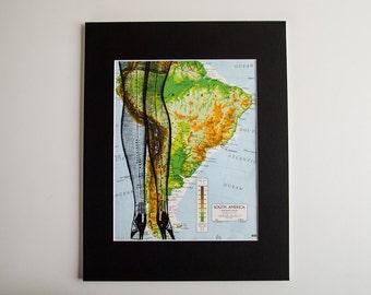 "Vintage Art Print - Sexy Stockinged Legs on Vintage South America Map, 11 x 14"""