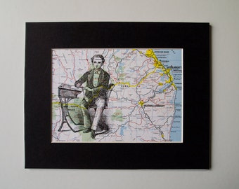 School Teacher Print, Mounted on a Vintage map of Australia, 6 x 8""