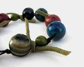 Chunky Gemstone bracelet / Multicolored gems and leather - JewelMeShop