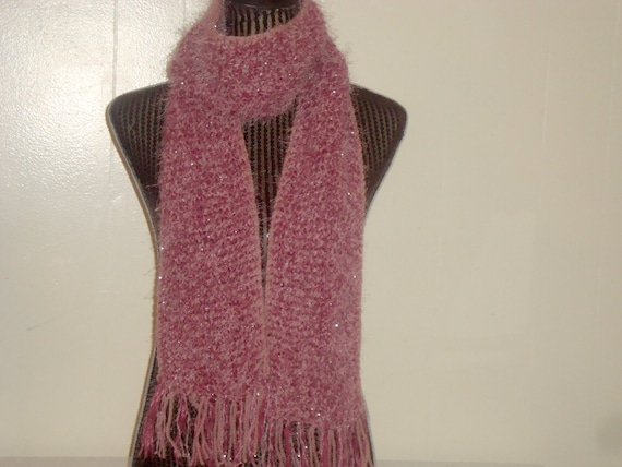 Knit Scarf.Sale.Pink  Dusty/Murano.Warm.Fringed.Fall/Winter. Woman.Mohair  blend.Fuzzy. Sparkle.Long. Ready  to  ship.