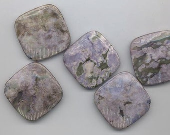 Five large dumar stone beads - light purple and muted green - hole runs corner to corner - 35 mm to a side