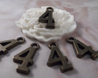 "5 Number ""4"" Antique Bronze Charms --- Antique Bronze Color"
