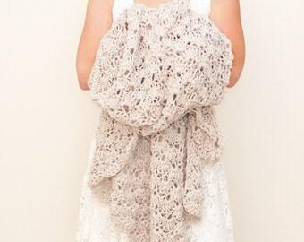crochet afghan blanket - linen