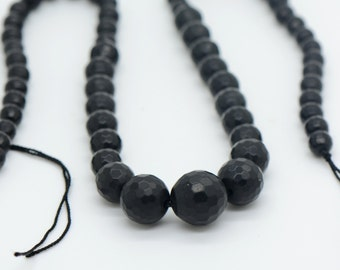"""16"""" - 55pcs - Real Black Agate Gemstone Bead Strand Faceted Round Pink about 6-14mm in diameter"""