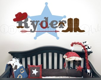 Western Cowboy Nursery Wall Decal, Cowboy Custom Name Wall Decal for Kids, Baby or Children's Room 090