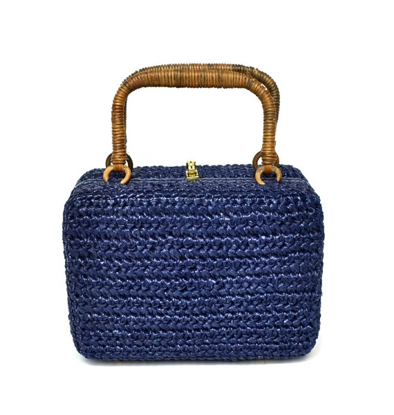 Vintage 50s Navy Straw Mini Bag Vtg Blue Raffia Purse Handbag