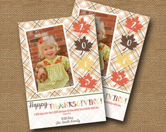 Thanksgiving Photo Card | DIY PRINTABLE | Fall Leaves Plaid Photo Card | Christian, Scripture, Thanksgiving Bible Verse Card | Fall Plaid