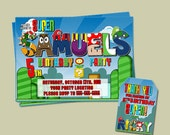 Personalized Super Mario Birthday Party invitation and Thank you- Digital File