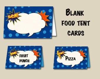 Blank Superhero Food Tent Cards