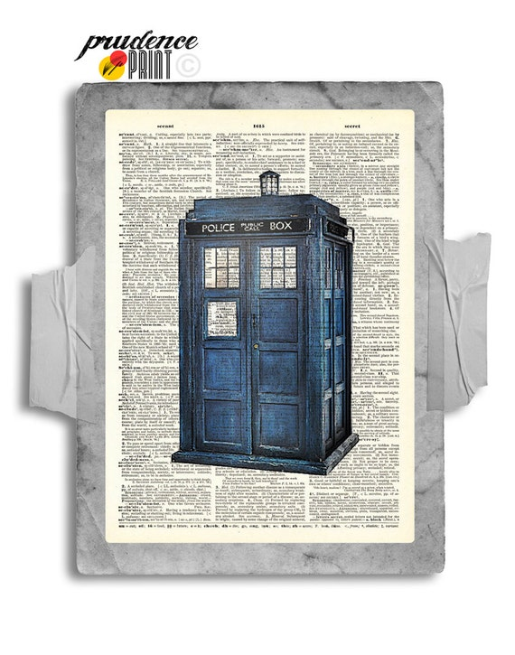 The Original TARDIS Doctor Who Geek Print on Unframed Upcycled Bookpage