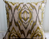Grey, Citrine and Oatmeal Ikat Pillow Cover / 22 X 22 / Same fabric both sides
