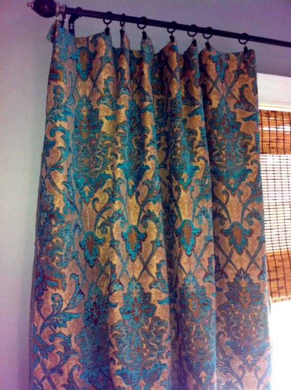 Teal Damask Curtain Panel/ Custom Drapery in Designer Chenille fabric