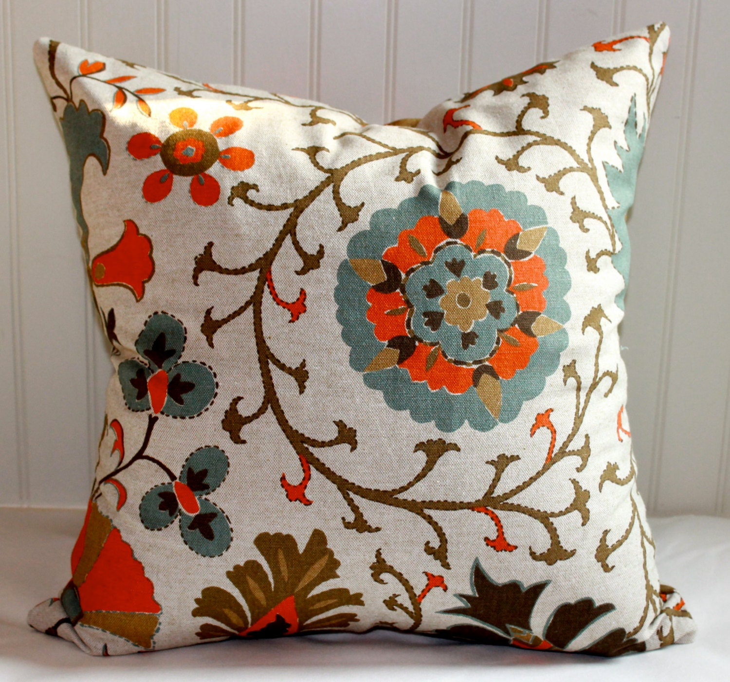 orange turquoise and brown floral pillow cover 18 x 18. Black Bedroom Furniture Sets. Home Design Ideas