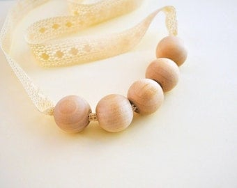 Romantic Nursing Necklace/Teething Necklace by SimplyaCircle-Breastfeeding Necklace-Eco-FriendlyBeige-Mother's day