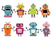 Robots Clipart (8 PNG files)