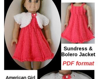 Heartland Homespun PDF Knitting Pattern 46 Sundress and Bolero Jacket for American GIrl or Similar 18 Inch Dolls
