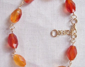 AA Grade Carnelian Bracelet with 14k Gold Filled Clasp,Chain, Jump Rings and Wire