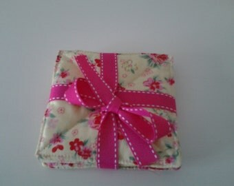 Pretty floral fabric coasters. Set of 4.