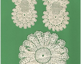 Nine Vintage Doilies Crocheted, Knitted, Tatted