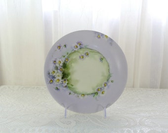 Limoges handpainted plate lavender and green daisies B & Co France