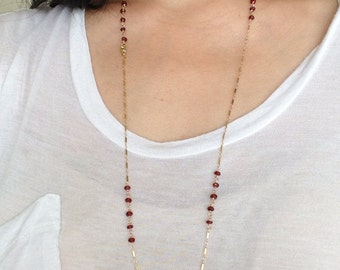 Red Garnet Wire Wrapped Beaded Long Necklace available in gold or silver 30 36 42