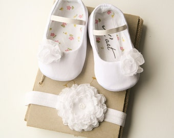 WHITE baby shoes and chiffon flower headband, flower girl shoes, toddler girl shoes, christening baptism outfit, elegant dressy crib shoes