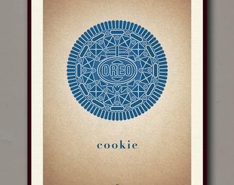 Oreo Cookie Print (Blue) | 12 x 16 | #3 | Digital, Wall Decor, Poster Print, Modern Vintage