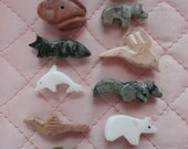 24 Medium Hand Carved Stone Animal Fetish Beads  M2