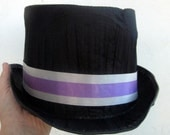Vintage Worn and Frumpled Looking Vintage CostumeTop Hat.  Perfect for a Vintage Circus or Carnival Costume