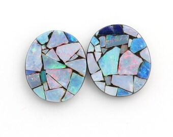 Natural Australian Opal Mosaic, size 12x14mm,  Genuine Gemstones - 2 Stones
