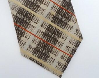 Vintage Wide Necktie 1970's Plaid Polyester Tie Men's  Retro Hipster