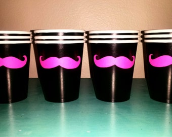 12 Hot Pink Mustache Paper Party Cups-Mustache Cups-Mustache Party-Bridal Shower-Baby Shower-The Handlebar-Little Man Party-Party cups