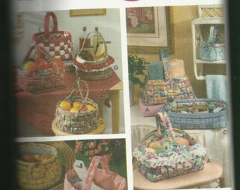 Simplicity 9420 Woven Fabric Baskets Eight Styles to Choose From Oh Sew Cottage Chic UNCUT