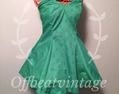 Womens Green Owl Print Strapless Dress Vintage Inspired Sweetheart Neckline size Medium