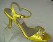 Bright Yellow shoes Wedding Bridesmaids 200 color options,Brides Wedding Heels, Yellow Hand Dyed Satin Open Toe Ankle Strap Heels, Bling