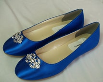 Wedding Flat Royal Blue Shoes with Brooch, Royal Blue plus 200 colors,Something Blue ballet style slippers,embellished satin,Carrie,non slip