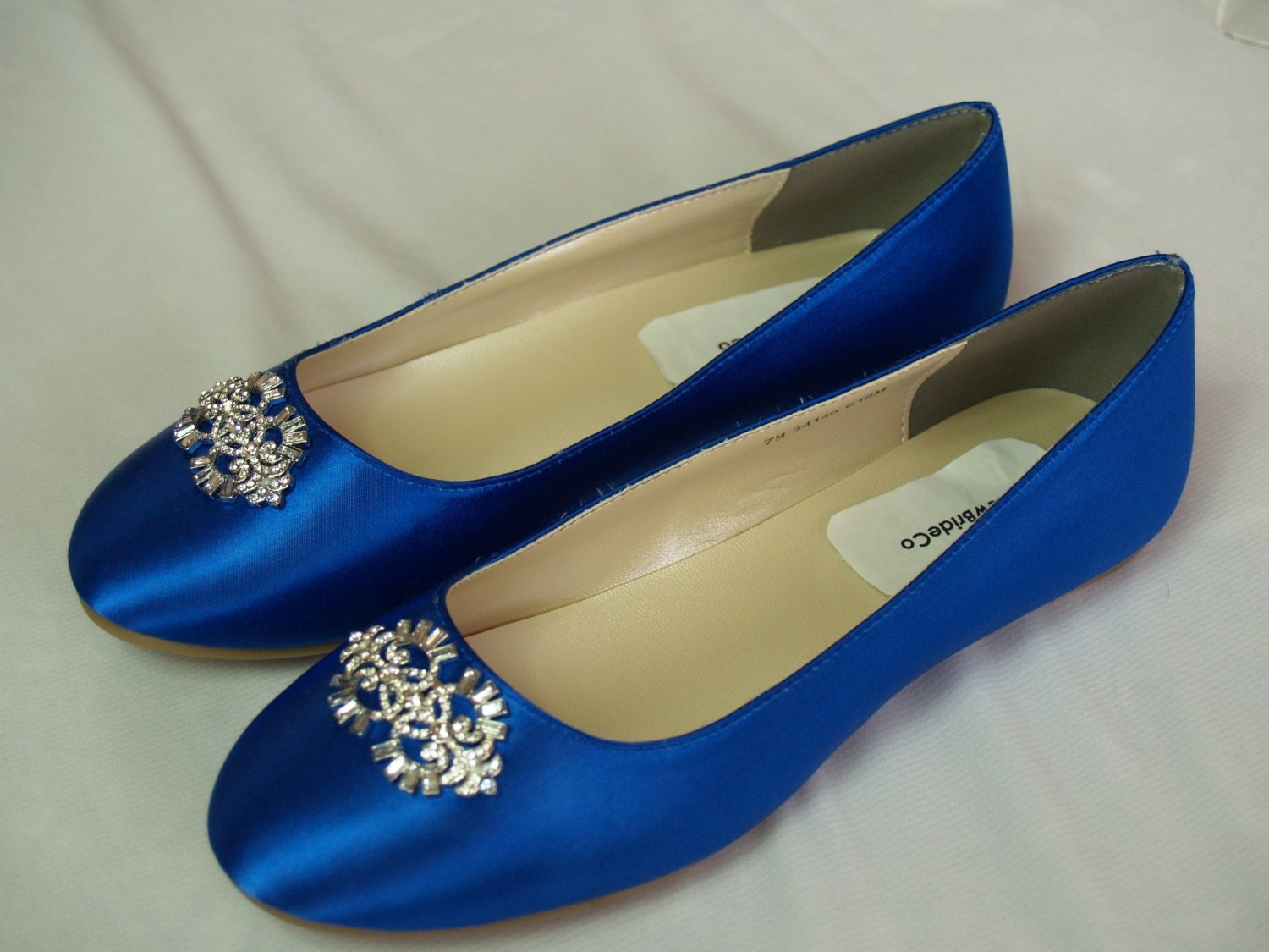 Wedding Royal Blue Shoes wedding flat royal blue shoes with brooch plus 200