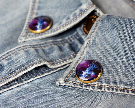 Cosmic Galaxy collar brooch - Space collar pin - Tiny round clips - Free Shipping